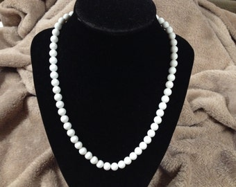Vintage White Acrylic Beaded Necklace, 18'' Long