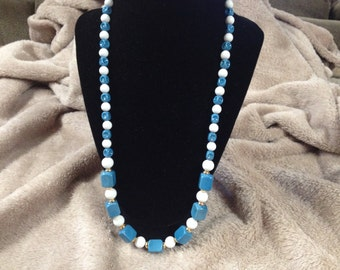 Vintage Blue and White Beaded Necklace, 24'' Long
