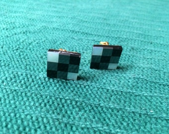 Vintage Goldtone And Black Square Design Cuff Links, 5/8'' Long by 5/8'' Wide