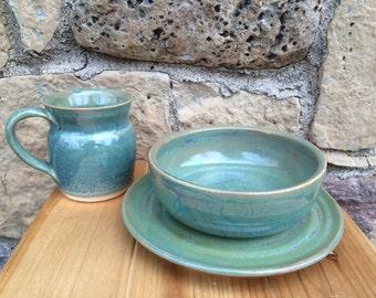 coffee mug, pottery mug, bowl, pottery bowl, snack plate, snack set, breakfast set, mug and bowl set, mug, set, bowl set, pottery, handmade