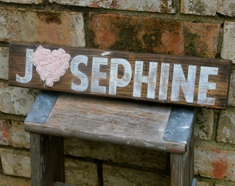 Personalized Nursery Sign with Fabric Rosettes