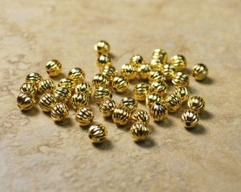 43 Gold Plated Round Fluted Beads Lot 206