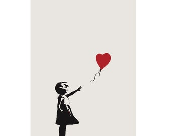 BANKSY Canvas Graffiti Girl with a Balloon Ivory Wall Art Print Gallery Wrapped