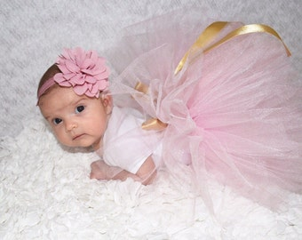 Baby tulle skirt,tutu,Soft Tulle,Girls CUSTOM sewn tutus.Gold and pink