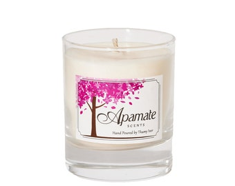 Citronella and Pine scented candle with soy wax and Aromatherapy essential oils. Eco friendly gift idea for summer in your garden, patio