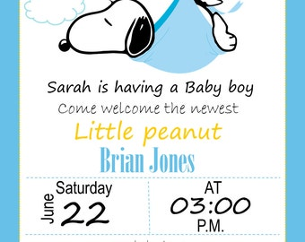 Exceptional Baby Shower Snoopy Invitation