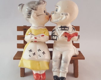 SALE - Elderly Couple Salt and Pepper Shakers - Vintage
