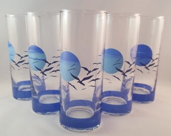 SALE - Anchor Hocking Panache Seagull Sunset Glasses - Set of 5
