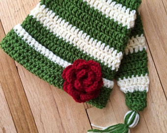 Crocheted Baby and Child Elf Hat, Crocheted Stocking Cap, Elf Hat with Tassel, Stocking Hat with Tassel, Crocheted Tail with Tassel Hat