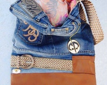 Denim handmade bag, Jeans shoulder bag, Denim and artificial leather bag, Artistic unique bag