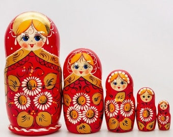 FLASH SALE 3 days 40% off Daisy Red Nesting Doll 7.5'' (5 pc)