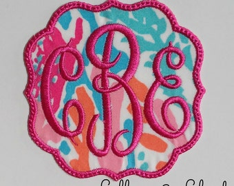 Lilly Pulitzer Monogram Patch in Empress Font Iron on Applique /Lilly Pulitzer Patch/ Lilly Backpack Patch/Bridesmaids Gifts