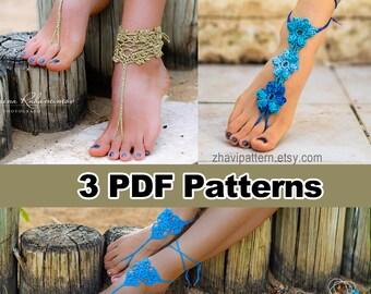 SALE, THREE Crochet Patterns: Barefoot Sandals & Bracelets #12 + Blue Flowers Barefoot Sandals #29 + Blue Three Leaves barefoot sandals #15