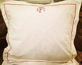 monogrammed euro sham, custom bedroom decor, pillow shams, euros, monogrammed decor