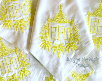 White Buffet Napkins w/  Pagoda 3 Letter Monogram Initials SET OF 6