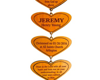 Christening Gift from GiGi and Nana,First Holy Communion Wall Keepsake,Personalized Baptism Hearts,Custom Baptism Gift from Grandparents.