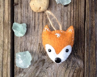 Quirky Embroidered Fox Ornament, Fox Lover, Cute Ornament, Felt Christmas Ornament, Woodland Christmas, Stocking stuffer, Fox Lover