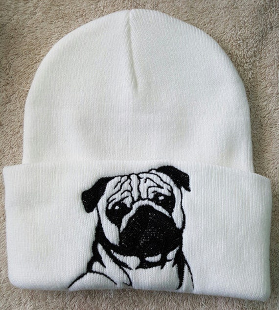 Knitting Pattern For Pug Hat : Pug Embroidered Knit hat
