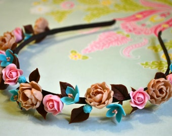 Flower headband. Handmade fashion Flower Hair hoop.  Hair wreath.