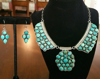 Native American Turquoise and Silver Choker Necklace with Earrings
