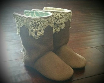 Brown taupe faux suede lace trim baby toddler soft sole boots