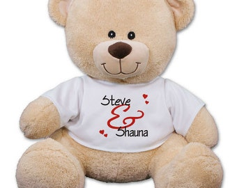 "Personalized Teddy Bear Plush Couples 11"" Soft & Cuddly Teddy Bear with T-shirt"