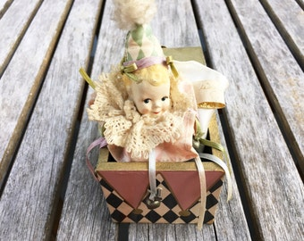 Jack in the Box Toy Wayne Kleski Baby Gift Baby Doll Gift for Baby Vintage Toy Old Toy Antique Toy Jack In The Box Head Nursery Decor