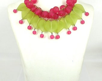 Hand Made Heart Green & Pink Color Bead Necklace