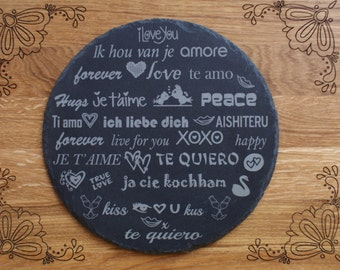 Round engraved slate cheese board