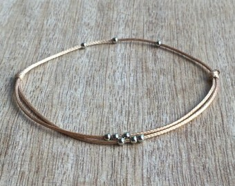Beaded Anklet, Gold Waxed Cord Anklet, Silver Anklet, Adjustable Anklet, Waterproof  WA001009