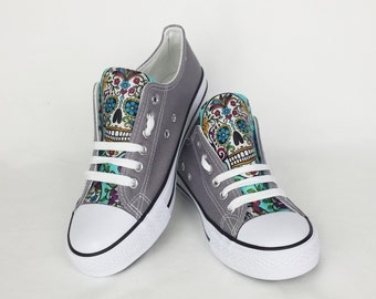 Sugar skull shoes, grey shoes, custom skull shoes, custom converse style, women shoes, turquoise shoes, gift for her, unique, rockabilly