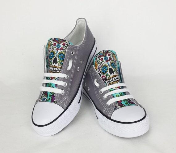 Sugar skull shoes grey shoes custom skull shoes custom