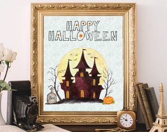 Halloween Decor, Happy Halloween, Printable Wall Art, Instant Download Print