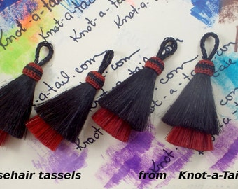Horsehair tassel THICK Double layer Natural horse hair color black over RED horse hair colors 4 inches horsehair tassels