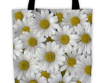 Daisy Tote Bag Flower Environmentally Friendly Reuseable Market Bag Designer Book Bag Shopping Cotton Canvas Eco-Friendly 1024