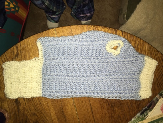 Basket Weaving Edging : Large cable and braid dog sweater with basket weave edging