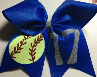 Glitter Ribbon Softball Bow with number