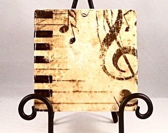 Piano Music Notes Coaster Set ( Set includes 4 Tiles )