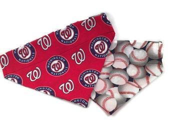 Washington Nationals Over the Collar Dog Bandana // Nats Reversible Dog Bandanna // Washington DC // Nationals Baseball Scarf // Dog Gift