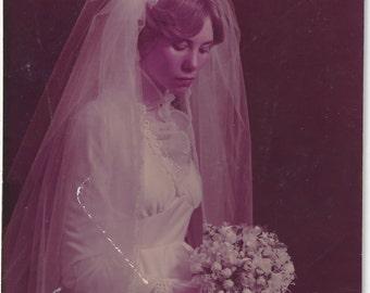 1980s Bride Studio Portrait, Vintage Photograph