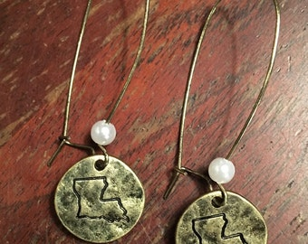 LOUISIANA ETCHED EARRINGS (Gold Aged Finish)