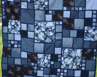 """Stained Glass Denim Quilt 53""""x56"""""""