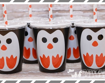 Winter ONEderland-Penguin Birthday Party-Peguin Party Cups- Party Favor Cups 9oz