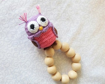 Cute Owl Handmade Rattle Teether Teething toy Gift for girl Crochet owl Baby shower gift Baby teething toy Baby rattle Sensory toy Baby toy