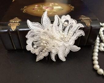 Bridal Hair Accessories, Wedding Head Piece, Ivory Lace Comb, Pearl, Rhinestone