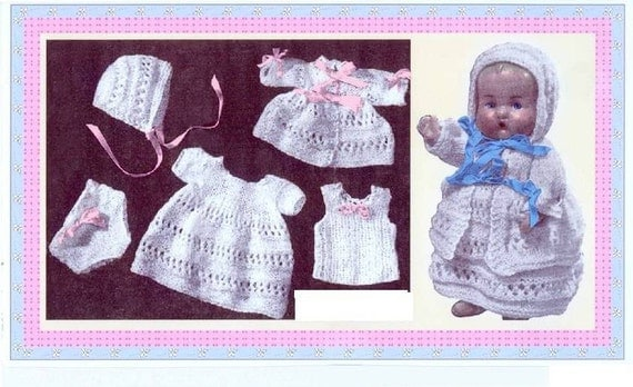 Vintage Doll Clothes to fit 9 inch baby dolls layette set