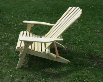 Unfinished Pressure Treated Pine Designs Folding Adirondack Chair - Amish Made in the USA