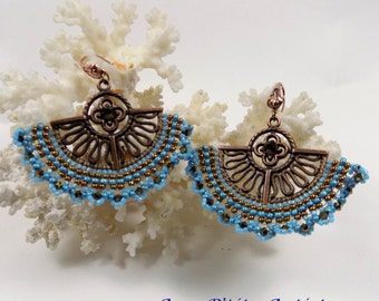 "earrings, ""Madrid"" in brick stitch turquoise"