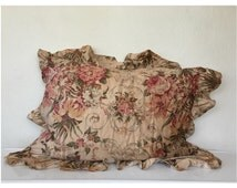 Two Ralph Lauren Ruffled Floral Pillowcases - Standard Ruffled Ralph Lauren Shams - Matching RL Pillowcases