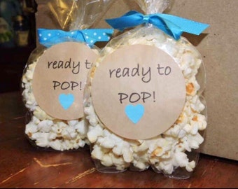 Ready to POP! STICKERS ONLY 12 pack of stickers ready to go on your favors! Boy or girl stickers pink or blue hearts available babyshower